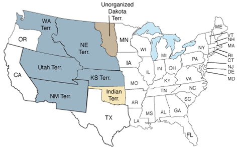 33 states participated in the 1860 census, including the new states of Minnesota and Oregon and the territories of Kansas, New Mexico, Nebraska, Utah, Washington, Indian and Unorganized Dakota.