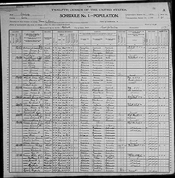 Frank Lloyd Wright in the 1900 US Census while living in Illinois with his first wife.