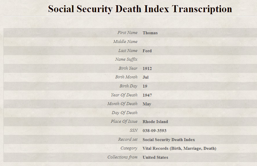 Social Security Death Index Findmypast Co Uk