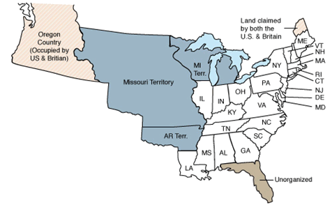 New States In 1820 Census Include Alabama Mississippi Illinois Indiana Louisiana And Maine The Territories Of Arkansas Michigan And Missouri Also