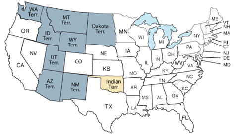 38 states took part in the 1880 census, including the new state of Colorado and the territories of New Mexico, Idaho, Arizona, Utah, Wyoming, Montana, Washington, Alaska, Dakota and Indian.